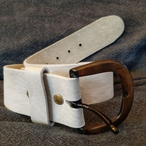 """Vintage White 2"""" all leather belt brass buckle"""